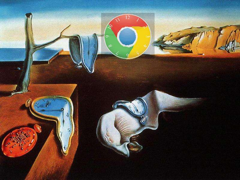 Google Chrome clock in a Surrealist context of limp clocks